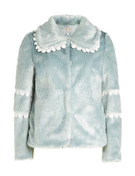 Faux Fur Coat With Lace Trim by Shrimps
