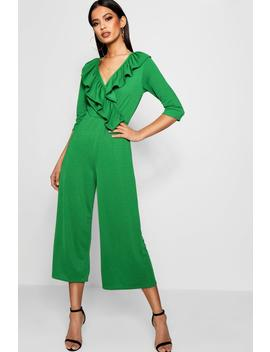 Rhea Ruffle Wrap Over Culotte Jumpsuit by Boohoo