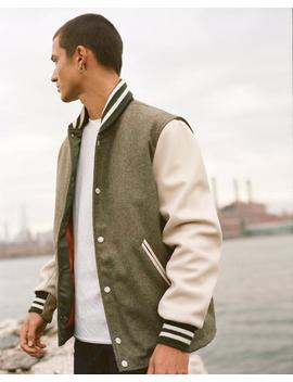 Varsity Jacket W/ Leather Sleeve by Rag & Bone