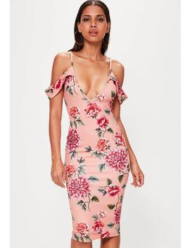 Pink Frill Sleeve Plunge Scuba Midi Floral Dress by Missguided