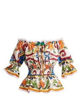Majolica Print Off The Shoulder Cotton Blend Top by Dolce & Gabbana