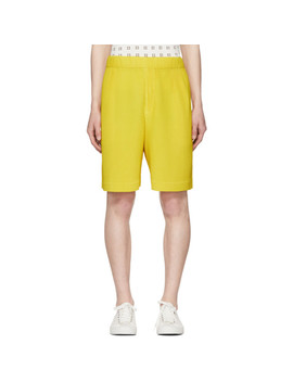 Yellow Pleated Shorts by Homme PlissÉ Issey Miyake