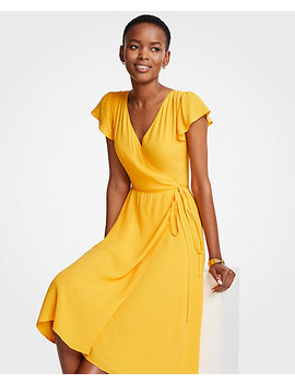 Marigold Ruffle Wrap Dress by Ann Taylor