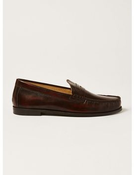 Burgundy Leather Rally Penny Loafers by Topman