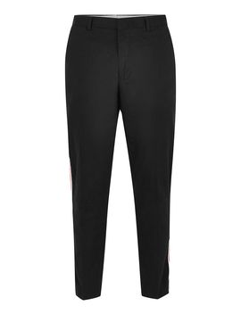 Black Twill Side Taping Tapered Trousers by Topman