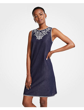 Floral Embroidered Denim Shift Dress by Ann Taylor