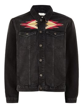 Black Embroidered Denim Jacket by Topman