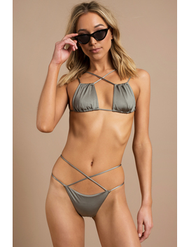 Unforgettable Olive X Front Bikini Bottom by Tobi