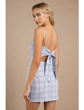 With Time Light Blue Plaid Bodycon Dress by Tobi