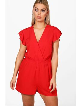 Plus Carly Ruffle Sleeve Playsuit by Boohoo