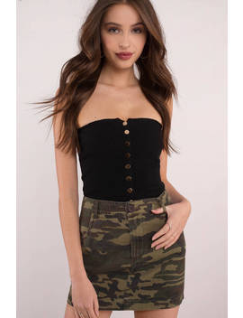 Camp Vibes Olive Camo Mini Skirt by Tobi