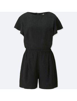 Women Rayon Short Sleeve Romper by Uniqlo