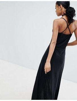 Lasula   Robe Longue Avec Top En Dentelle Et Fentes Hauteur Cuisse   Noir by Lasula