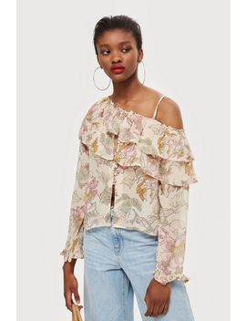 Floral Frill Off Shoulder Top by Topshop
