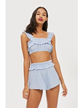 Shirred Textured Crop Bikini Top by Topshop