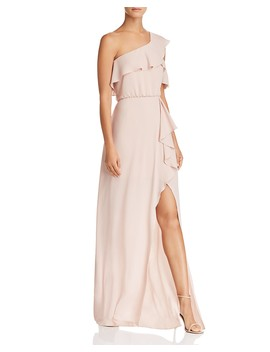 One Shoulder Ruffle Trim Gown   100% Exclusive by Bcbgmaxazria