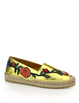 Pilar Floral Embroidered Metallic Leather Espadrilles by Gucci