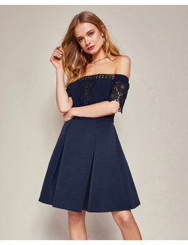 Lace Trim Bardot Dress by Ted Baker