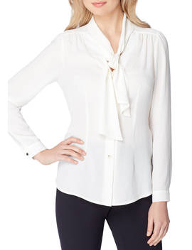 Long Sleeve Bow Blouse by Tahari Asl