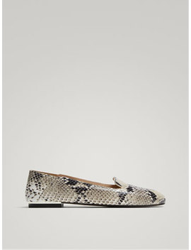 Animal Print Leather Slippers by Massimo Dutti