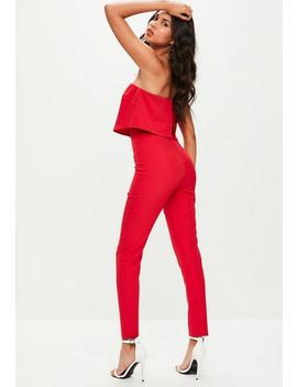 Red Bandeau Double Layer Jumpsuit by Missguided