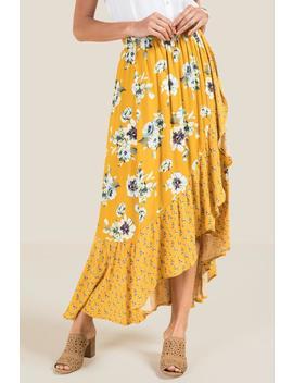 Denise Smock Waist Floral Long Skirt by Francesca's