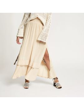 Beige Sequin Shirred Maxi Skirt by River Island