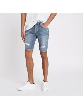 Blue Sid Ripped Skinny Fit Denim Shorts by River Island