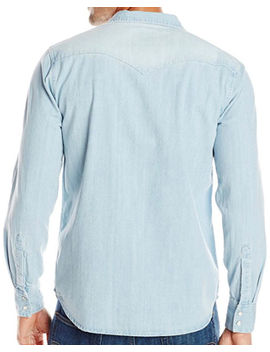 Levi's Men's Washed Blue Denim Long Sleeve Western Shirt by Levis