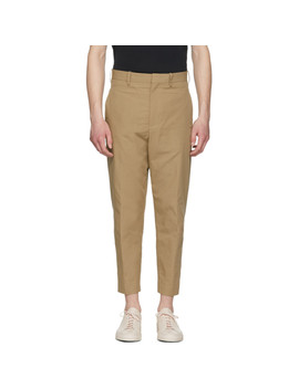 Pantalon En Coton Texturé Beige by Neil Barrett