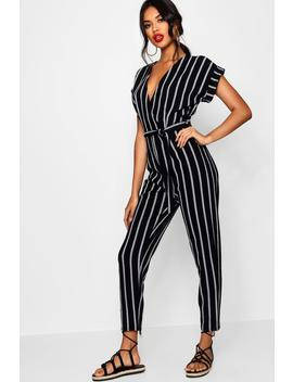 Tina Tailored Roll Sleeve Tie Belt Jumpsuit by Boohoo