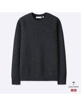 Men Cashmere Crewneck Long Sleeve Sweater by Uniqlo