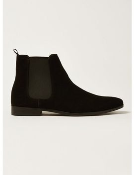 Black Faux Suede Fisco Chelsea Boots by Topman