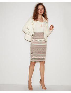 High Waisted Geometric Two Tone Pencil Skirt by Express
