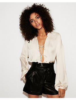 Tie Front Blouson Sleeve Blouse by Express