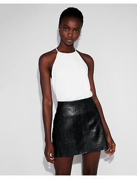 High Waisted (Minus The) Leather Snake Mini Skirt by Express