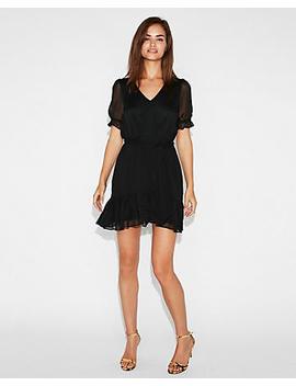 Ruffle Hem Sash Waist Mini Dress by Express