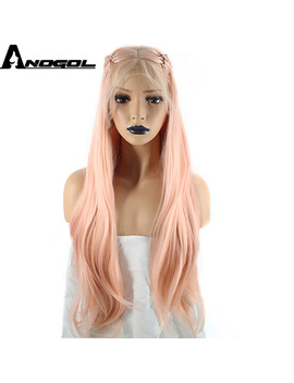 Anogol High Temperature Fiber Braids Natural Long Wavy Pink Braided Princess Synthetic Lace Front Wig For Women Costume Party  by Anogol