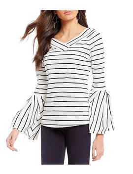 Gibson &Amp; Latimer V Neck Striped Bell Sleeve Top by Gibson &Amp; Latimer