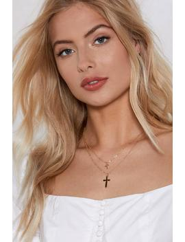 Go For The Double Cross Layered Necklace by Nasty Gal