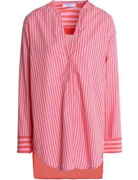 Voile Paneled Striped Cotton Poplin Shirt by Sandro Paris