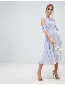 Asos Design Petite   Robe Patineuse Mi Longue à épaules Nues Avec Haut à Fleurs by Asos Design