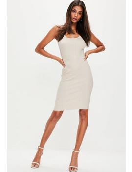 Nude Ribbed Knitted Midi Dress by Missguided