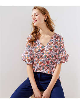 Kaleidoscope Tiered Bell Cuff Top by Loft