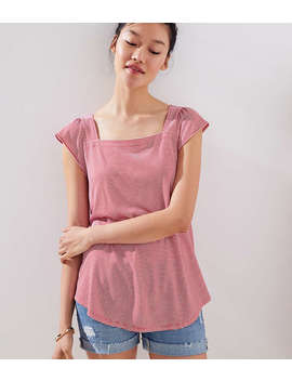 Striped Square Neck Tee by Loft