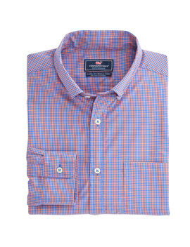 Whale Cay Micro Gingham Performance Classic Murray Shirt by Vineyard Vines