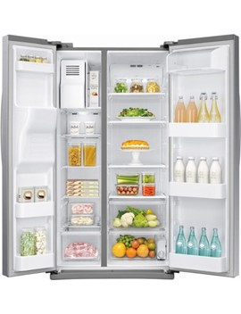 24.5 Cu. Ft. Side By Side Refrigerator With Thru The Door Ice And Water   Stainless Steel by Samsung