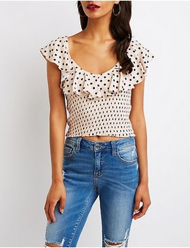 Polka Dot Smocked Ruffle Crop Top by Charlotte Russe