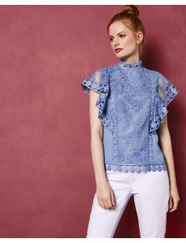 Mixed Lace Frill Sleeve Top by Ted Baker