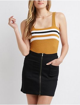 Striped Ribbed Bodysuit by Charlotte Russe